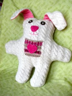 """Bunny made from an old sweater- the pocket would be great for the """"tooth fairy"""""""