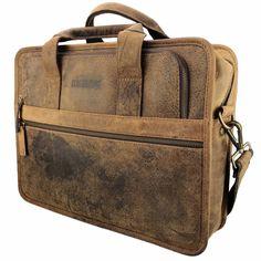 Buffel leren laptoptas werktas herentas damestas Materiaal: Buffelleer (hunterleer) Kleur: Bruin Schouderband: Ja Laptopvak: Ja Afmeting: = 31 x 39,5 x 10 cm (H