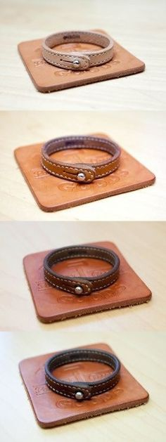 natural leather aging process: one day, six months, three months. Leather Art, Leather Cuffs, Leather Design, Leather Belts, Leather Tooling, Leather Jewelry, Leather Bracelets, Diy Leather Projects, Leather Working Tools
