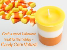 Learn how to make candy corn votive candles! Free step-by-step tutorial. Candle Making At Home, Candle Making Business, Halloween Candles, Halloween Diy, Gel Candles, Candle Craft, Holiday Candy, Candlemaking, Homemade Candles