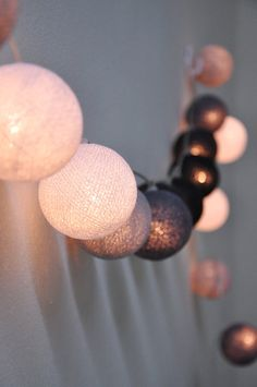 Mixed dark grey ball string lights for Patio,Wedding,Party and Decoration (20 bulbs). $12,99, via Etsy.