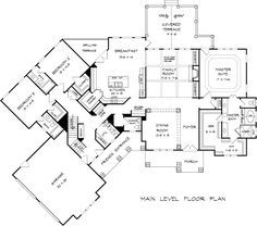 First Floor Plan of Craftsman Traditional House Plan 58252