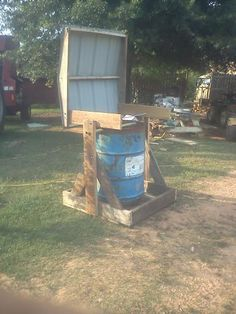 pig feeder made from old used wood from a porch project