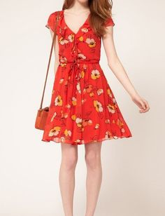 #sheinside Red V Neck Belt Floral Chiffon Dress - Sheinside.com