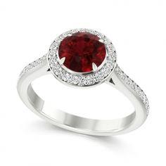 Steven Stone - Platinum Ruby & Diamond Set Halo Ring