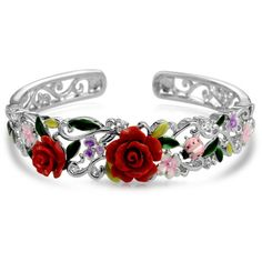 Bling Jewelry Rose Cuff ($40) ❤ liked on Polyvore featuring jewelry, bracelets, rings, accessories, cuff-bracelets, red, hinged cuff bracelet, red cuff bracelet, christmas bracelet and red rose jewelry