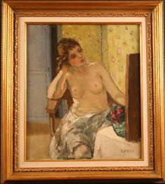 Jean Louis Marcel Cosson - Woman Dressing,  Mid Century Modern Impressionist | From a unique collection of nude paintings at http://www.1stdibs.com/art/paintings/nude-paintings/