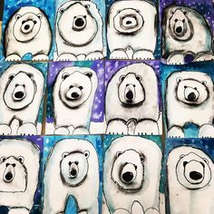 The cutest polar bears! grade guided drawing with watercolor and charcoal sh… – janneke The cutest polar bears! grade guided drawing with watercolor and charcoal sh… The cutest polar bears! grade guided drawing with watercolor and charcoal shading. Classroom Art Projects, School Art Projects, Art Classroom, Art 2nd Grade, Art D'ours, Op Art, Arte Elemental, Classe D'art, Winter Art Projects