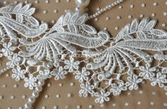 "Lace Trim Soft White Cross Embroidery Wedding Trim 5.12/"" width 2 yards"