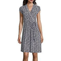 jcp | Liz Claiborne® Cap-Sleeve Diamond-Geo Wrap Dress