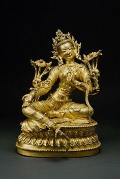 Tara. China/Tibet, 16th century. Gilt Bronze. 10.5 inches (26.7 cm).