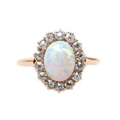 Victorian Opal Engagement Ring with Old Mine Cut Diamond Halo