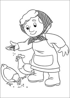 Postman Pat in tricycle coloring pages for kids printable free