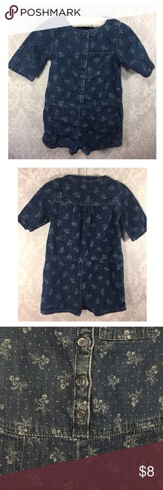 Baby Gap Denim One Piece Baby Gap Denim One Piece with Floral Print.  Button down with 3 snaps in between the legs.  Size 12-18 Months. GAP One Pieces Bodysuits