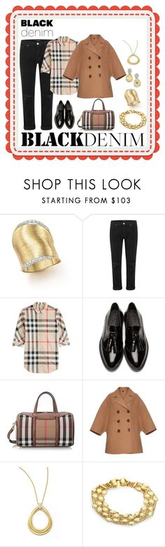 """""""Black Denim"""" by karen-galves ❤ liked on Polyvore featuring Marco Bicego, J Brand, Burberry and blackdenim"""