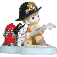 Precious Moments Figurines - 2016 Black Friday Specials - Courage Under Fire - Fireman With Puppy And Hydrant