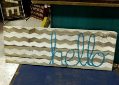 READY TO SHIP Chevron Hello  Reclaimed Wood Sign by Junque2Jewels, $40.00
