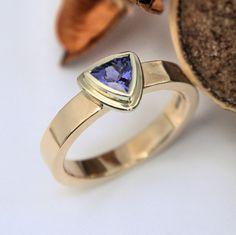 trillion Tanzanite white and yellow gold ring