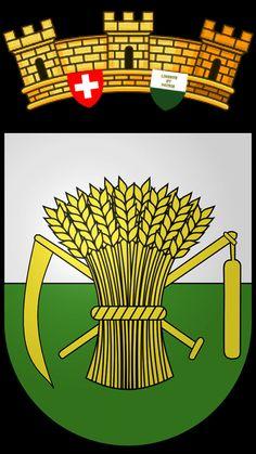 Blason de la commune de Cremin. District de Broye-Vully. Les armoiries de la commune sont celles du canton de Vaud, auxquelles on a retiré la devise Liberté et Patrie pour remplacer par des symboles représentatifs de l'activité locale : l'agriculture.