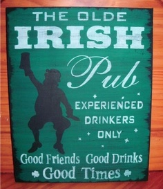 St. Patricks Day Sign Olde Irish Pub Party Leprechauns Primitive Bar Man cave