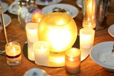 The centerpieces for a wedding.  No flowers here!  Imagine 20 tables full of candles...what a romantic ambiance!
