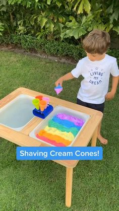 Fun shaving cream cone activity for 3 year olds! Such a fun sensory play activity! 3 Year Old Activities, Sensory Activities Toddlers, Preschool Learning Activities, Summer Activities For Kids, Infant Activities, Kids Learning, Outdoor Activities For Preschoolers, Outdoor Toddler Activities, Outdoor Play For Toddlers