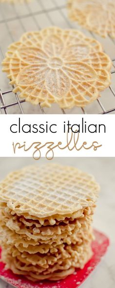 Classic Italian Pizzelles - an old family favorite, light and crispy and delicious!Classic Italian Pizzelles - an old family favorite, light and crispy and delicious! Italian Cookie Recipes, Sicilian Recipes, Italian Cookies, Italian Desserts, Köstliche Desserts, Baking Recipes, Old Italian Recipes, East Dessert Recipes, Pillsbury Recipes