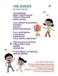 """Play music in the background while sharing this poem, """"The Dancer"""" by Jorge Argueta from THE POETRY FRIDAY ANTHOLOGY® FOR CELEBRATIONS edited by Sylvia Vardell and Janet Wong (Pomelo Books, 2015)."""