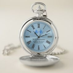 ECG trace on ice blue medical retirement gift Pocket Watch - tap, personalize, buy right now!