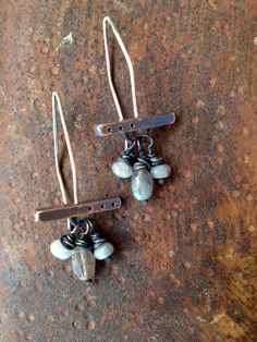 rustic oxidized copper earrings with by StudioLunaVerde on Etsy