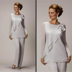 Two Pieces Mother Of The Bride Pants Suit For Weddings Cheap Chiffon Long Sleeve Outfits Formal mother of the bride dresses Mother Of The Groom Suits, Mother Of Bride Outfits, Mother Of The Bride Gown, Mother Of Groom Dresses, Mothers Dresses, Bride Dresses, Mother Bride, Ivory Dresses, Peplum Dresses