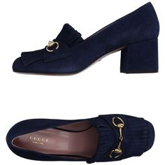 Gucci Moccasins (23.905 RUB) ❤ liked on Polyvore featuring shoes, loafers, dark blue, leather moccasins, square heel shoes, leather shoes, round cap and round toe shoes