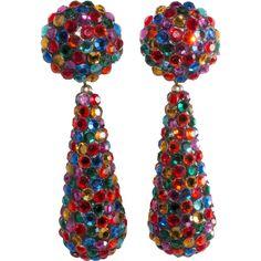 Richard Kerr Multi-Color Rhinestone Dangle Earrings 1980s Vintage