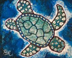 """SEA TURTLE"" All paintings are original one of a kind. Beautiful emerald greens and blues. Original textured acrylic on deep gallery canvas Sides painted. Aline Cross Thanks for looking! Pelican Art, Sea Turtle Painting, New Orleans Art, Turtle Gifts, Cross Art, Beach Wall Art, Ocean Art, Aboriginal Art, Coffee Art"
