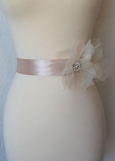 Blush Champagne Bridal Sash, Bridal Belt, Wedding Sash, Rhinestone Bridal Sash - CHALONS EN @Ashley Walters NordenCHAMPAGNE. $96.00, via Etsy.