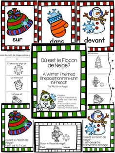 $ A Winter Themed Preposition Unit in French!  Includes posters, a story and activities to help primary students learn about prepositions. French Teacher, Teaching French, Shape Anchor Chart, French Prepositions, French Flashcards, French Worksheets, French For Beginners, Core French, French Classroom