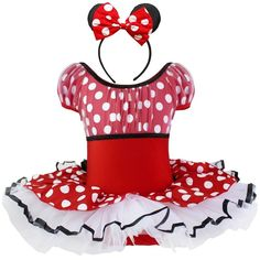 This Minnie Mouse Tutu Dress is perfect for your little girl's themed birthday party, smash cake, pictures, or first trip to Disney!