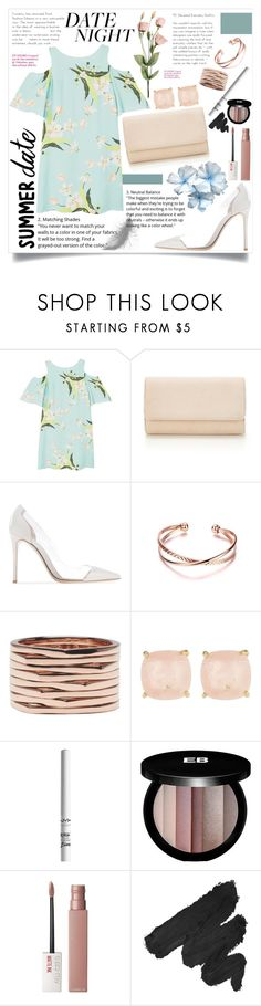 """""""Smokin' Hot : Flowy Dress for Date"""" by skrzatia ❤ liked on Polyvore featuring MANGO, Repossi, Ariella Collection, NYX, Edward Bess, Maybelline and summerdatenight"""