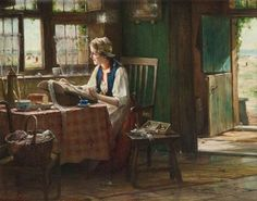 """""""Bobbin lace maker at the window with view on the beach"""" by Edward Antoon. - Buscar con Google"""