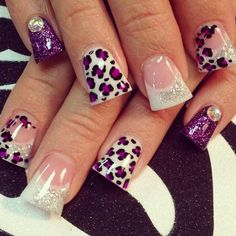 Purple cheetah nails--if they were not flared....design is still cute!