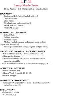 example resume - Sorority Resume Template
