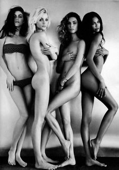 Hilary Rhoda, Jessica Stam, Erin Wasson, and Chanel Iman.
