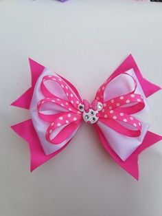 Pink and White Minnie Mouse Hair Bow - All For Hairstyles Ribbon Hair Bows, Diy Ribbon, Girl Hair Bows, Fabric Ribbon, Bow Hair Clips, Ribbon Crafts, Girls Bows, Flower Hair Bows, Disney Hair Bows