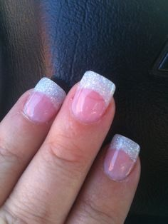 Trendy Wedding Nails French Glitter Tips Ideas French Nails, Glitter French Manicure, Glitter Nails, Gel Nails, French Manicures, Red Glitter, Sparkle Nails, Acrylic Nails, Glitter French Tips