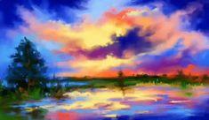 Sunset at lake by Mishelangello on DeviantArt Image Painting, Painting & Drawing, Landscape Artwork, Colorful Paintings, Elder Scrolls, Digital Art, Digital Paintings, Creative Art, Vibrant