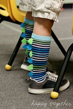 DIY dinosaur socks...for crazy sock day at school, or just for fun. Super easy to make.:
