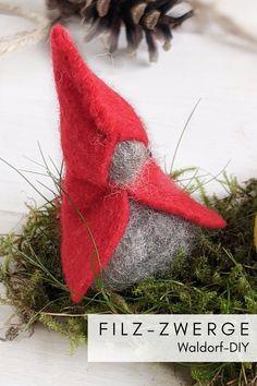 Waldorf DIY - Filz Zwerge nähen: Die Filz Wichtel eignen sich nicht nur für den Jahreszeitentisch oder das Moosgärtlein, sondern sehen auch als Herbstdeko oder Weihnachtsdeko hübsch aus. Die Filzzwerge kann man gut mit Kindern basteln, da sie einfach zu machen sind.