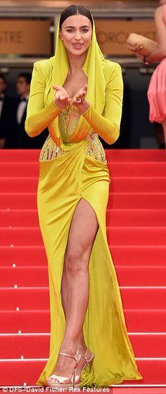 Irina Shayk sexy in yellow silk #cannes