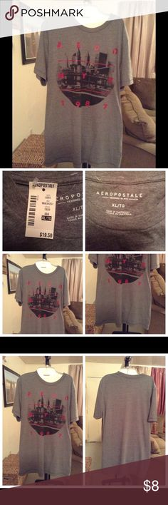 """Aeropostale Men's T-Shirt Top is made of 52% Cotton and 48% Polyester.  Size XL.  NWT. Color Gray. Length """"31. Laying flat """"23. New and never worn. Aeropostale Shirts Tees - Short Sleeve"""