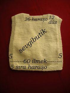 Knit baby vest, tabard style, small size ~~ SEVGİ BUTİK: yelek